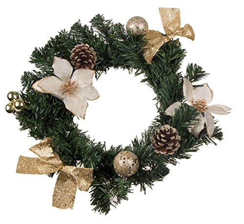 (Christmas Wreath with White Poinsettia, Snow Covered Pine Cones, Gold Bows and Ornaments | Perfect for Interior or Exterior Christmas Decor | Hang on Doors, Walls, Stairs and More! | 10