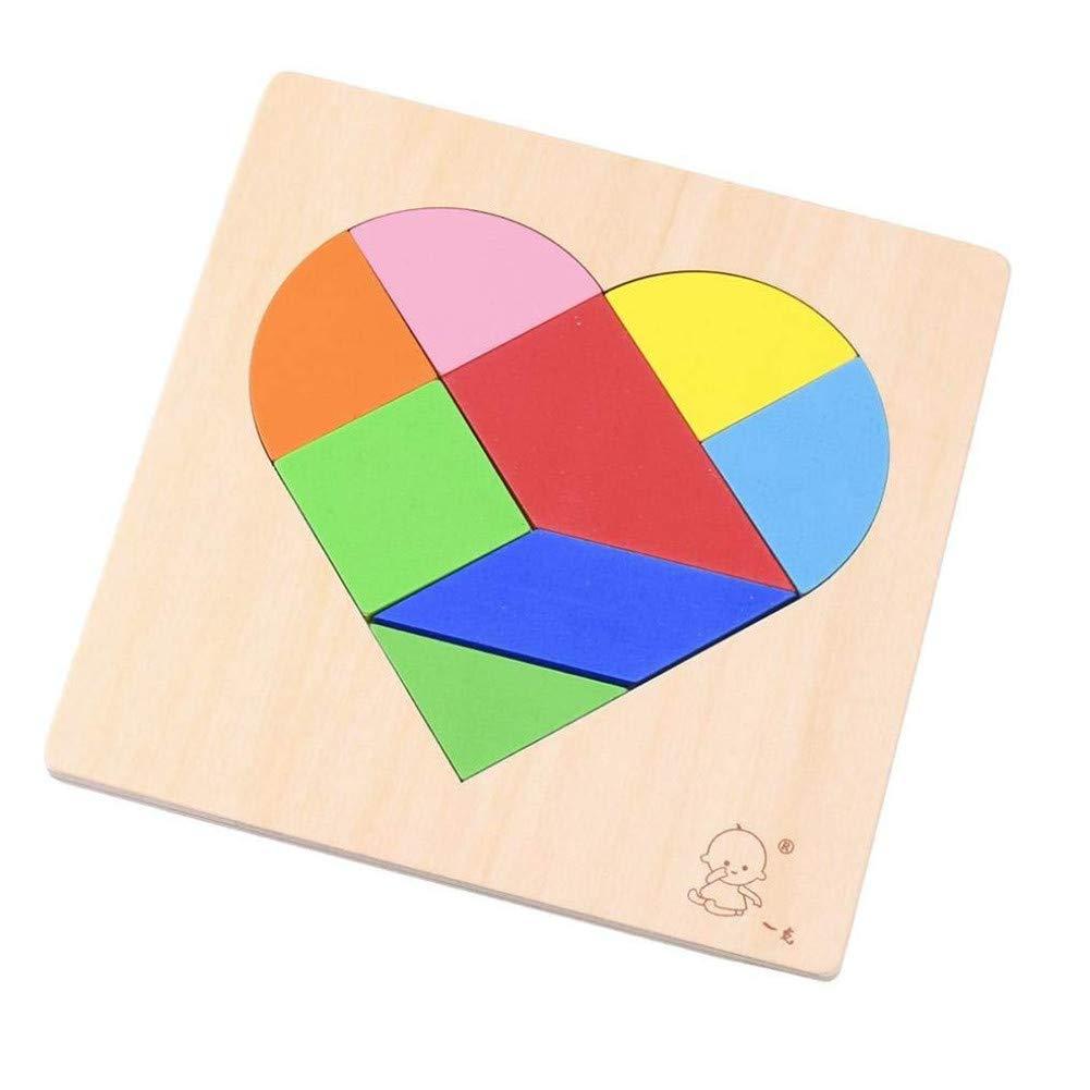 PROW/® Color/é en Bois Tetris 8 Pi/èces B/âtiment Blocs Cerveau Puzzle Tangram S/ûr /Éducatif Jouets D/évelopper Logique Penser pour Les Enfants Adultes Anniversaire Cadeau Forme de Coeur