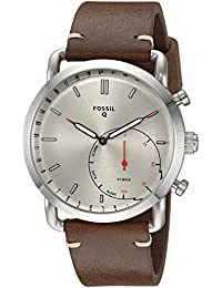 Q Men's Commuter Stainless Steel and Leather Hybrid Smartwatch, Color: Silver-Tone, Brown (Model: FTW1150)