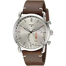 Fossil Q Men's Commuter Stainless Steel and Leather Hybrid Smartwatch, Color: Silver-Tone, Brown (Model: FTW1150)