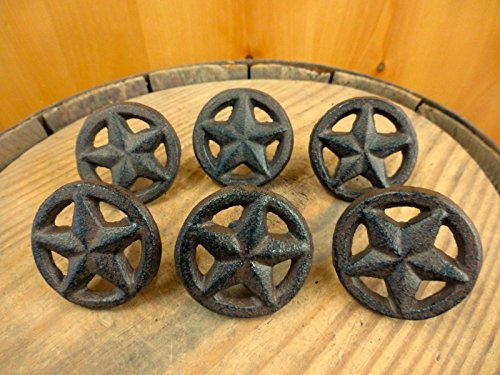 6 BROWN RUSTIC STAR DRAWER DOOR PULLS KNOBS CAST IRON CAB...