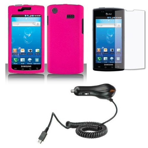 Samsung Captivate I897 Lcd - New Combo Hot Pink Rubberized Snap On Protector Hard Case + LCD Screen Guard Protector + Car Charger for Samsung Captivate i897 SGH-I897 (Galaxy S) AT&T