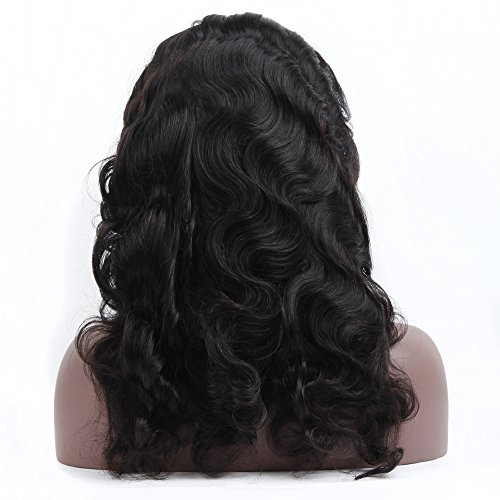 Queen Plus Body Wave 360 Lace Frontal Wig 180% Density Peruvian Virgin Hair Full Lace Cap Band Human Hair Wigs For Black Women Pre Plucked Hairline with Baby Hair (18inch) by Queen Plus Hair