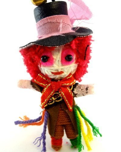 Mad Hatter Voodoo String Doll Key Chain Handmade Alice In Wonderland