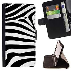 - Zebra Stripes Black White Zoo Animal - Estilo PU billetera de cuero del soporte del tir???¡¯????n [solapa de cierre] Cubierta- For Sony Xperia Z1 Compact D5503 £¨ Devil Case £©