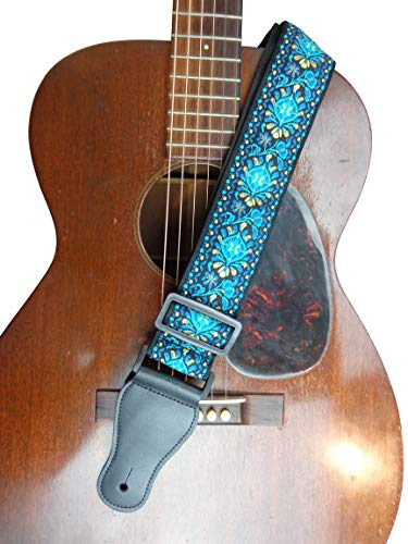 New Teal Green Blue Black White Retro Vintage Jacquard Woven Acoustic Electric Guitar Strap
