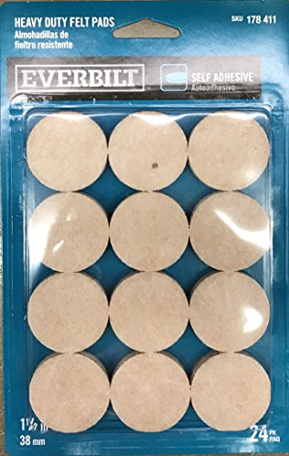 1-1/2 in. Beige Heavy-Duty Self-Adhesive Felt Pads (24-Pack) (Felt Heavy Duty Pads)