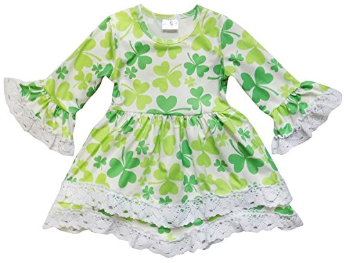 So Sydney Toddler Girls Boho Ruffle Crochet Lace Trim Flare Sleeve Dress (XXXL (8), Good Luck Shamrock)