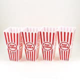 Adorox Plastic Reusable Popcorn Containers Set Movie Theater Style (Red/White (Set of 4))
