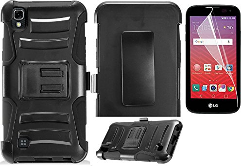 Film Screen Protector [flexible]+2Layer Rugged Case Cover w/Holster Belt Clip for LG X Power / X Series LTE [model: K6P K210 K450] Phone (Black)