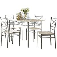 Coaster 100035 Home Furnishings 5 Piece Dining Set, Brushed Silver
