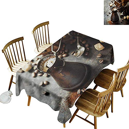 "home1love Rectangular Tablecloth Coffee Old Coffee Pot and Mill Table Cover for Dining 54"" W x 90"" L"