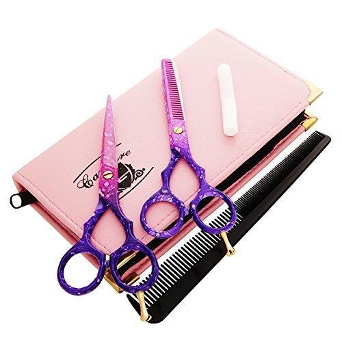 Professionell Haarscheren Set Mikroverzahnt Effilierschere Modellierschere Friseur Scheren Set, 5.5'' (13,97cm), Rosa und Lila
