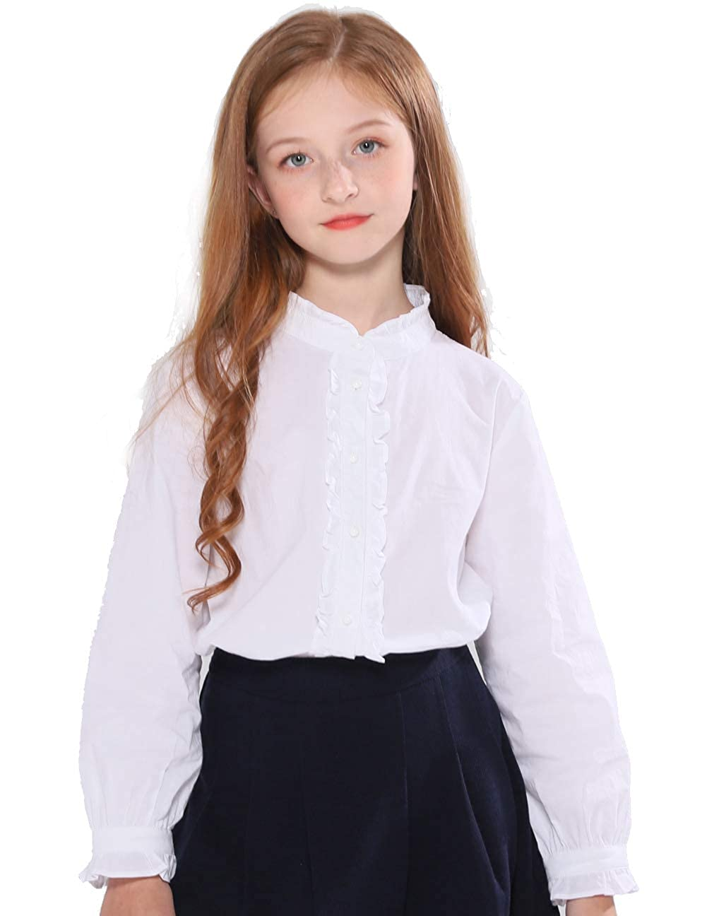 Vintage Style Children's Clothing: Girls, Boys, Baby, Toddler SOLOCOTE Girls White Blouse Ruffle Long Sleeve Button Down Shirts Princess Cotton Loose Soft Tops Spring and Summer 3-14Y $22.99 AT vintagedancer.com