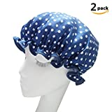 DWE Women Shower Cap ,Double Layer Waterproof Shower Cap Bath Cap