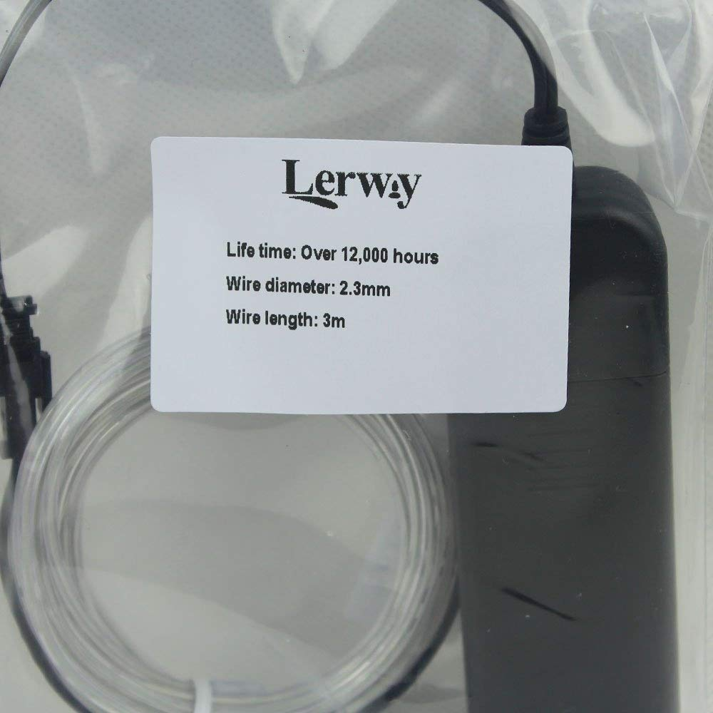 Lerway 3M/9.84FT Rope Neon Flexible Light Strip EL Wire Cable DIY ...