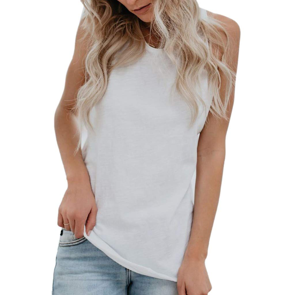 iLOOSKR Fashion Women Tee Summer Loose Vest Sleeveless Solid Color Casual Tank Tops T-Shirt White
