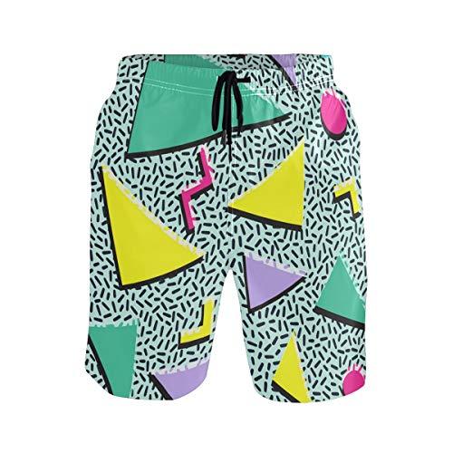 Funny 80s & 90s Retro Neon Mens Summer Casual Shorts Beachwear Sports Swimming Short Trunks Breathable Surf Shorts