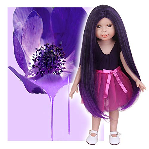 STfantasy Doll Wig for 18 Inches American Girl Doll AG OG Journey Girls Gotz My Life Ombre Purple Straight 2 Tone Synthetic Hair Lolita Girls Gift]()