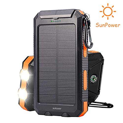 Soluser [2018 Upgraded] Solar Power Bank,10000mAh Portable Solar Charger...