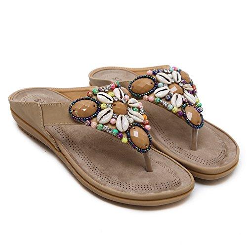Ruiren Women Bohemian Beeded Sandals,Summer Beach Post Sandals Flip Flops Flat Shoes for Ladies apricot