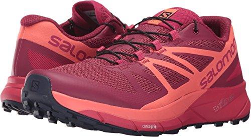 Salomon Sense Ride Trail Running Shoe - Women's Sangria/Living Coral/Virtual Pink 9