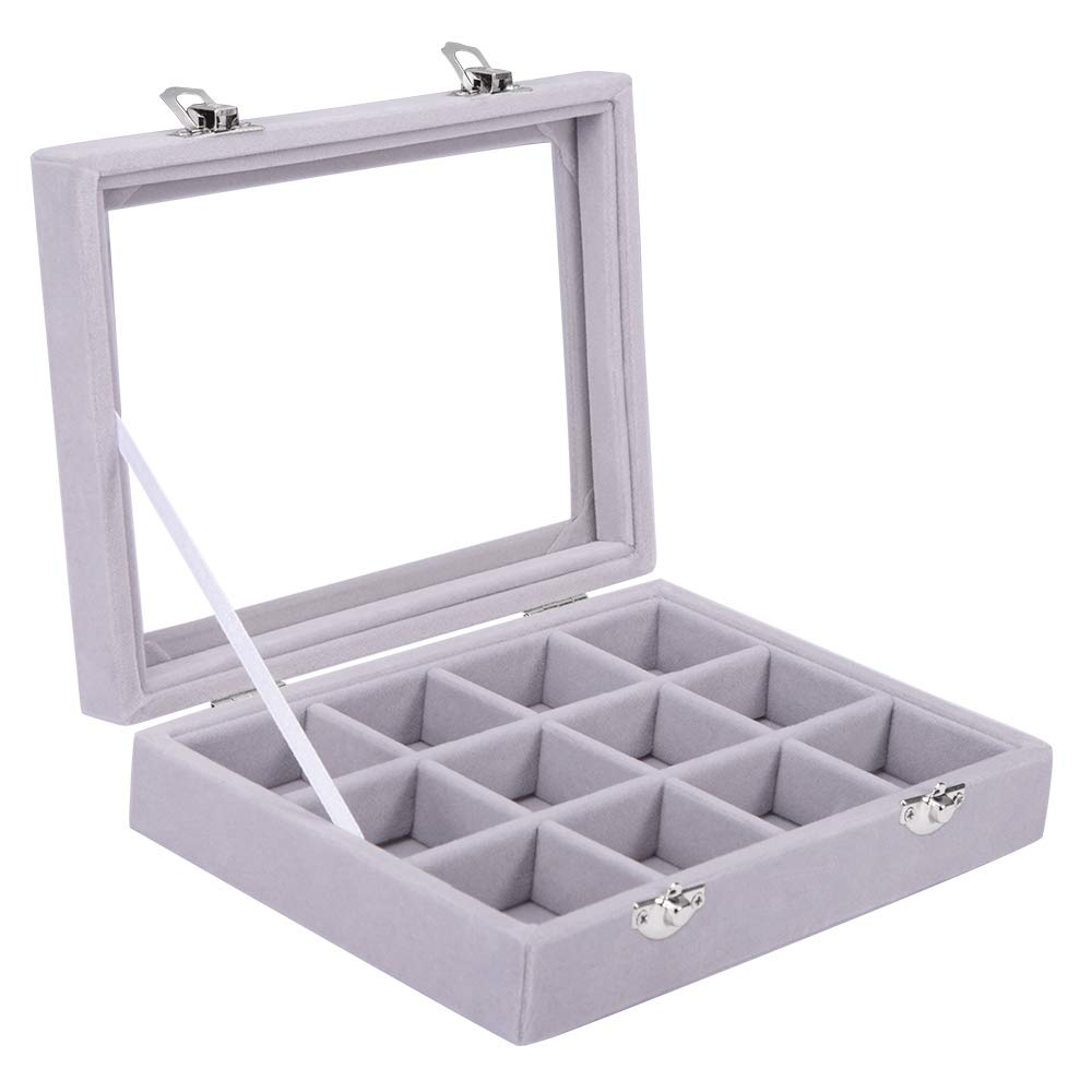 Pasutewel Earring Storage Case 12 Grids Ring Velvet Display Case Box Earring Ring Organizer Velvet Jewelry Tray Cufflink Storage Showcase with Clear Glass Lid Gray