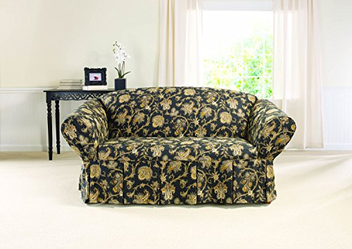 Sure Fit Tennyson 1-Piece  - Loveseat Slipcover  - Onyx (SF43233)