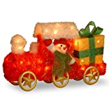 National Tree 23 Inch Tinsel Train with Gift and Snowman and 35 Clear Outdoor Lights (MZTT-23LO)