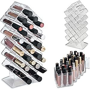 byAlegory Acrylic Lip Gloss Makeup Organizer 28 Space Storage w/ Deep Slots Designed To Stand Lay Flat & Be Stacked…