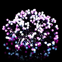 Lysignal 10ft 400 LEDs Firecracker String Light 8 Flash Modes Memory Waterproof Outdoor Decorative Lights for Christmas Party Stage Wedding Fairy Lighting Show (pink+white)
