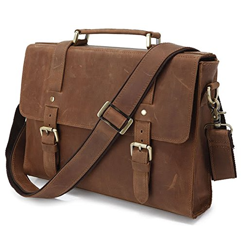 Men's Brown Crazy Horse Leather Tote Briefcase Shoulder Messenger Bags