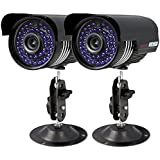 2 Pack 1200TVL Home outdoor Bullet wired wide angle Camera Long Range Day Night Vision Color HD High Resolution video security camera For Analog DVR System With Power Adapter Splitter Cable