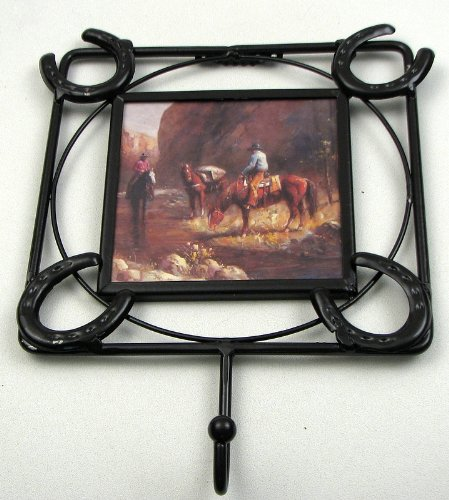 Wall Hooks Horseshoe Sculpture Decor Coat Hat Keys Hanging Mounted Holder Iron Horse Picture Frame Photo Gallery Indoor Outdoor Western Accent