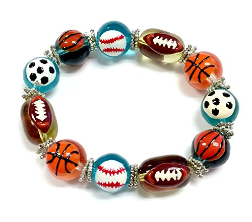 Linpeng 11 by 13mm Oval/8 to 14mm Round Hand Painted Foot Ball Soccer Ball Basket Ball Tennis Ball Base Ball on Colorful Glass Beads Stretch Bracelet