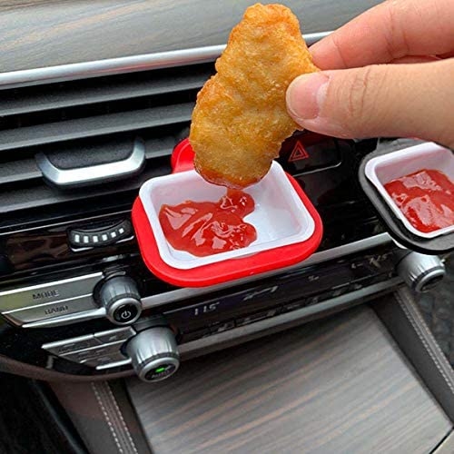 Chris-Wang 6 PCS in-Car Sauce Cup Holder Dip Clip Set,Reusable Ketchup Mini Dipping Cups Car Accessories Sauce Container for Vents of Vehicle