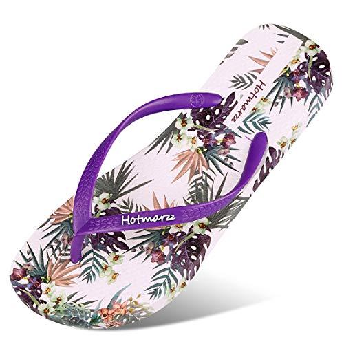 (Hotmarzz Women's Flip Flops Floral Pattern Sandals Colorful Summer Slippers 2019 Season, 4 B(M) US / 35 EU / 36 CN, Purple Floral Series, Purple)