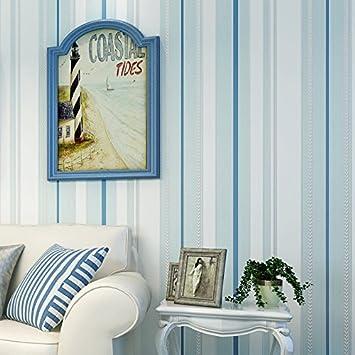 Cnmdgbwy Klassische Mediterrane Blau Gestreiften Vlies Tapete