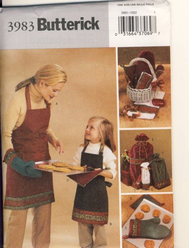 Butterick Sewing Pattern 3983 - Use to Make - Christmas Hostess Accessories - Aprons (Child & Adult), Oven Mitts, Pot Holders, Gift Bags (3 Sizes)