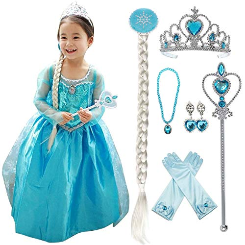 loel Princess Inspired Girls Snow Queen Party Costume Dress (130 for 5-6 Years, Elsa Dress with Accessories)