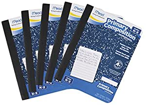Mead Composition Book, Primary, Grades K-2, 100 Wide-Ruled Sheets, 9.75 x 7.5 Inch Page Size, 5 Pack (72900)