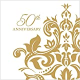 : 100 Count 3 Ply 50th Anniversary Napkins Wedding Party Favors Supplies Decorations White & Golden Beverage Napkin