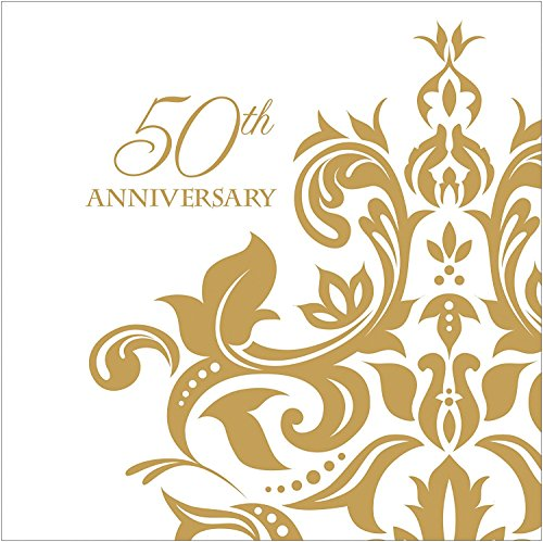 100 Count 3 Ply 50th Anniversary Napkins Wedding Party Favors Supplies Decorations White & Golden Beverage ()