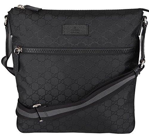 Gucci Mens Messenger (Gucci Unisex GG Guccissima Web Trim Crossbody Messenger Bag (Black))