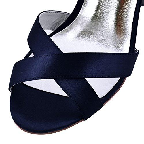 Femme Peep Avec Bretelles Chaussures Toe Elegantpark Aiguilles De Mariage Boucle Satin Sandales Stiletto Partie Talons À Hp1705 Marine Bleu 5Ewqwzg