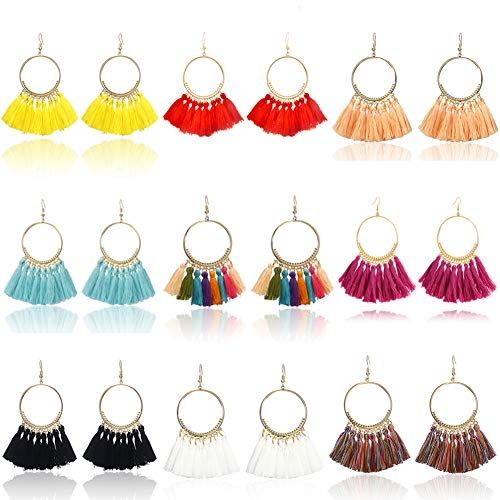 9 Pairs Tassel Hoop Earrings for Women Colorful Fan Shape Drop Earrings Statement Earrings for Women Girls Daily Wear Fashion Jewelry Valentine Birthday Christmas - Mens Tassel