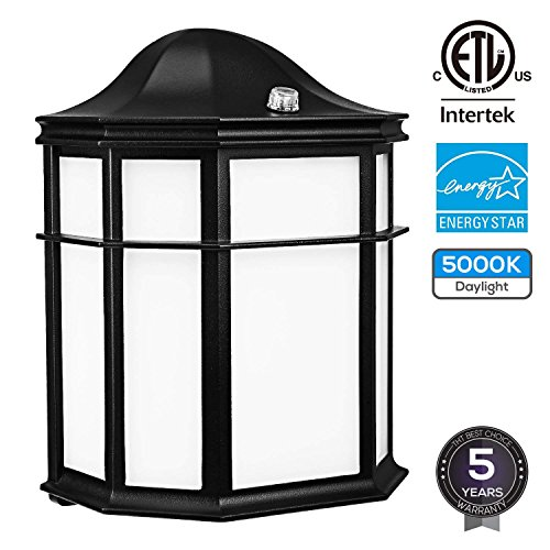 LEONLITE LED Dusk to Dawn Outdoor Wall Light, Photocell Included, 14W (80W Equiv.), Energy Star & ETL Listed Vintage Style Security Wall Pack Light, Daylight 5000K, 1050Lm, 5 Years Warranty by LEONLITE