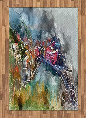 Vernazza Area Rugs 2.6'x5'ft,Digitally Generated Watercolor Effect Aerial Vista of Italian Coastal Village Non Skid Floor Mat Carpet Entry Throw Runners Rug,Multicolor ()