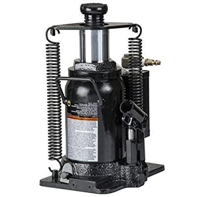 Omega 18206C Black Hydraulic Bottle Jack with Return Springs - 20 Ton Capacity