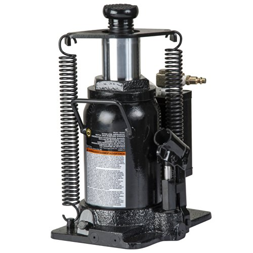 Omega 18206C Black Hydraulic Bottle Jack with Return Springs - 20 Ton ()